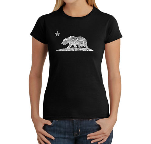 Los Angeles Pop Art California Bear Graphic T-Shirt
