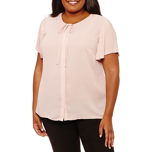 Worthington Short Sleeve Crew Neck Woven Blouse-Plus
