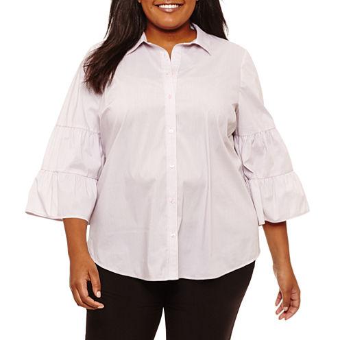 Worthington 3/4 Sleeve Stripe Button-Front Shirt-Plus