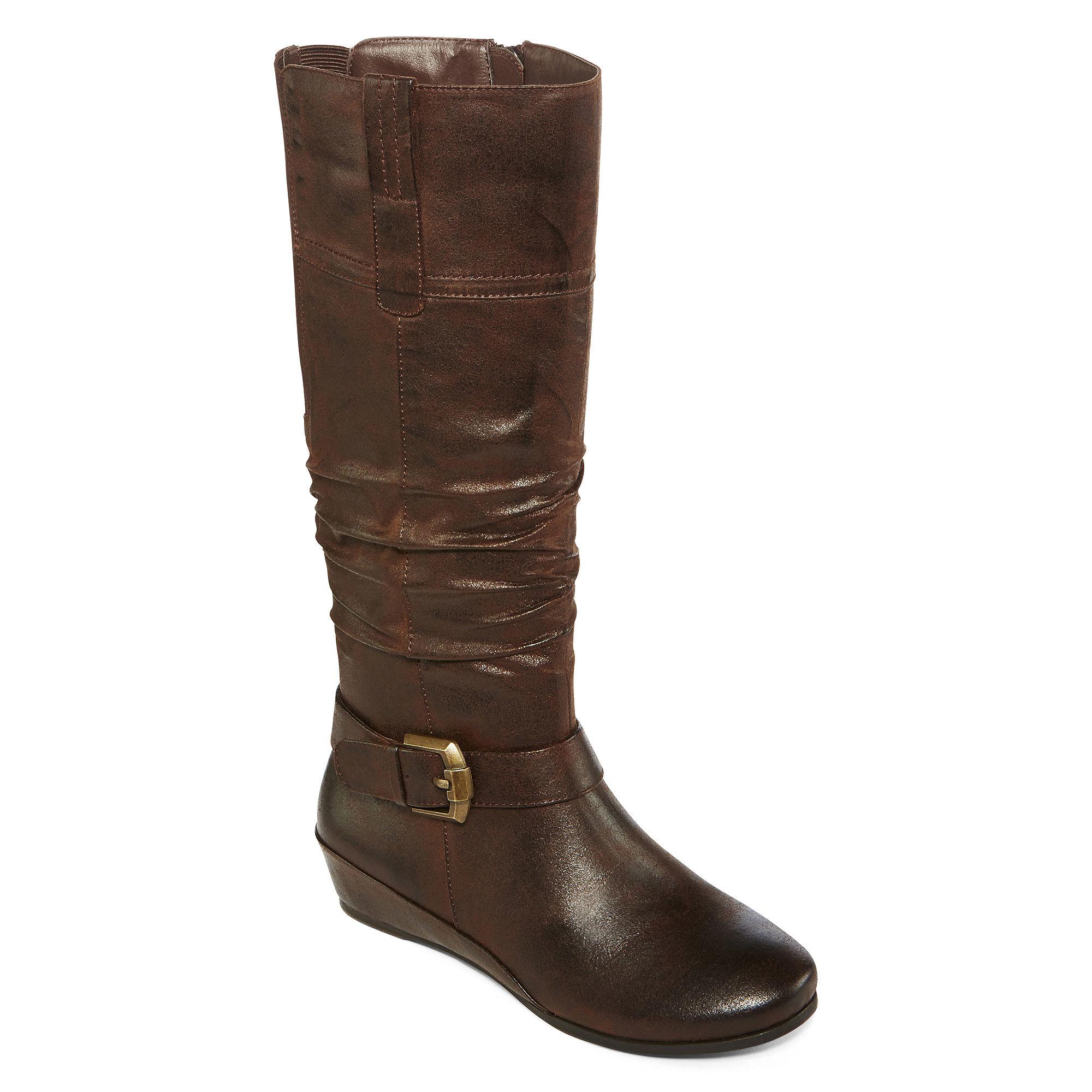 Yuu™ Simona Wedge Buckled Womens Boots plus size,  plus size fashion plus size appare