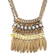 Arizona Crystal-Accent Cord and Metal Feather Necklace