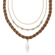 Carole Three-Row Pink Stone Pendant Necklace