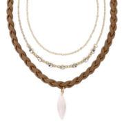 Carole Three-Row Pink Stone Pendant Necklace