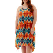 City Triangles® Sleeveless Aztec Print Necklace Dress - Plus