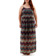 City Triangles® Sleeveless Batik Necklace Maxi Dress - Plus
