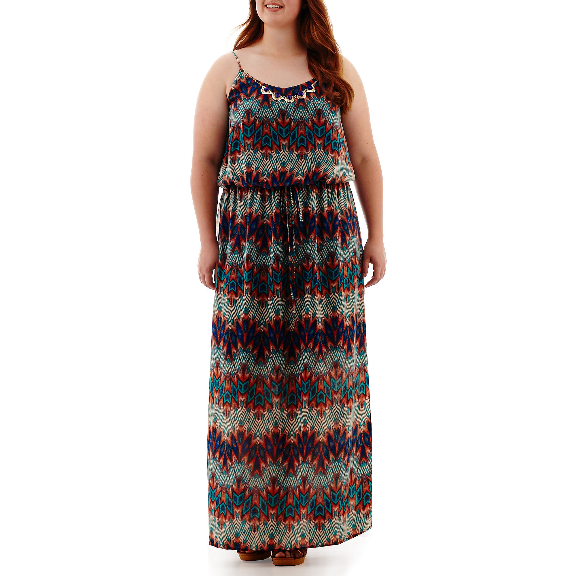 City Triangles Sleeveless Batik Necklace Maxi Dress - Juniors Plus