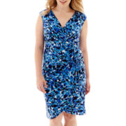 London Style Collection Sleeveless Faux-Wrap Dress - Plus