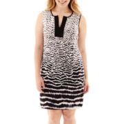 London Style Collection Sleeveless Split-Neck Shift Dress - Plus