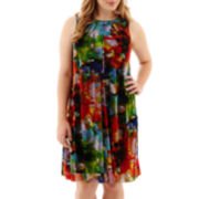 London Style Collection Sleeveless Floral Print Trapeze Dress - Plus