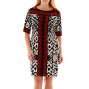 Studio 1® 3/4-Sleeve Ikat Print Shift Dress - Plus