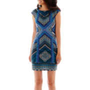 London Style Collection Cap-Sleeve Geometric Print Sheath Dress - Petite