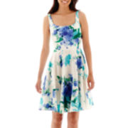 DR Collection Sleeveless Floral Print Fit-and-Flare Dress - Petite