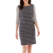True Color 3/4-Sleeve Multi-Stripe Pocket Shift Dress - Tall