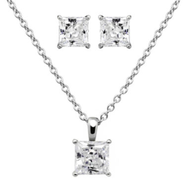 jcpenney.com | DiamonArt® Cubic Zirconia Sterling Silver Princess-Cut Earring and Pendant Necklace Set