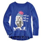 Arizona Lace-Hem Peplum Top - Preschool Girls 4-6x