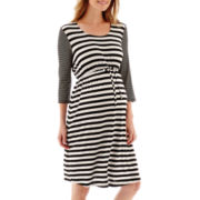 Maternity 3/4-Sleeve Multi-Stripe Knit Dress