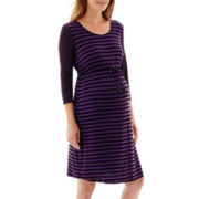 Maternity 3/4-Sleeve Multi-Stripe Knit Dress - Plus