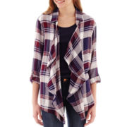 Living Doll 3/4-Sleeve Plaid Shirt Jacket