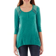 Almost Famous 3/4-Sleeve Tunic Henley