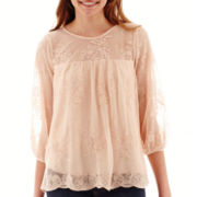 Lily Star 3/4-Sleeve Scalloped-Hem Lace Top