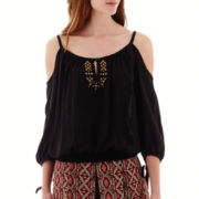 by&by 3/4-Sleeve Gauze Cold-Shoulder Embellished Top