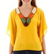 XOXO® Solid Embellished-Neck Poncho