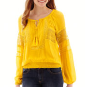 XOXO® 3/4-Sleeve Lace-Panel Gauze Peasant Top