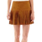 Rewind Faux-Suede Fringe Skirt