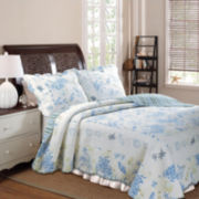 Greenland Home Fashions Coral Blue Coastal Quilt Set