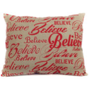 Christmas Believe Repeat Decorative Pillow
