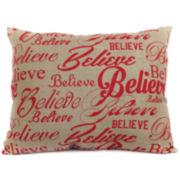 Christmas Believe Repeat Decorative Pillow