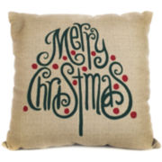 Merry Christmas Font Tree Decorative Pillow