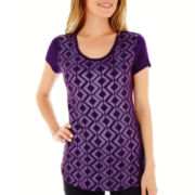 Liz Claiborne® Short-Sleeve Sequin Top - Petite