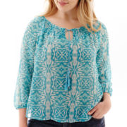 St. John's Bay® 3/4-Sleeve Tie-Front Print Peasant Top - Plus