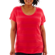 St. John's Bay® Dolman-Sleeve Striped Jacquard T-Shirt - Plus