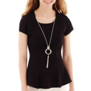 by&by Cap-Sleeve Mini Textured Necklace Peplum Top