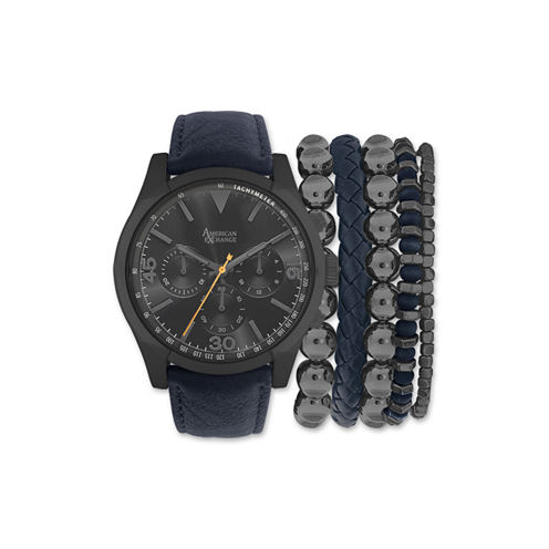 Mens Blue And Gunmetal Strap Watch And Bracelet Set Mst5181Bk100-259