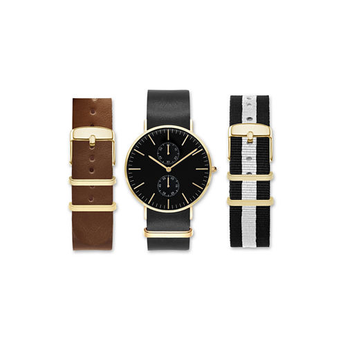Mens Black Interchangeable Strap Watch Set Amin5153G100-078