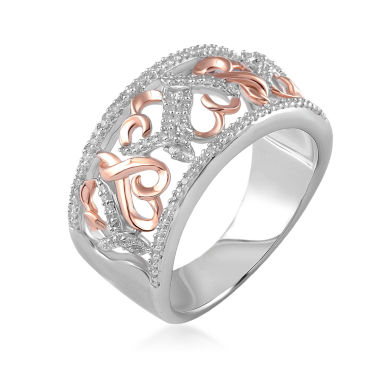 jcpenney.com | Hallmark Diamonds 1/4 CT.T.W. Diamond Sterling Silver With 14K Rose Gold Accent Ring