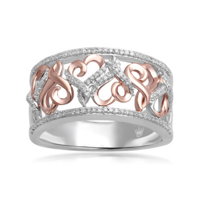 Hallmark Diamonds 14 CTTW Diamond Sterling Silver With 14K Rose