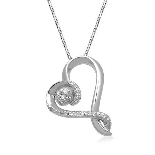 Hallmark Diamonds 1/10 CT.T.W. Diamond Sterling Silver Pendant Necklace