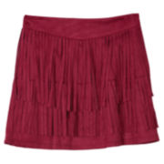 by&by Layered Fringe Faux-Suede Skirt - Girls 7-16