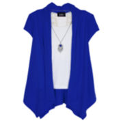 by&by Short-Sleeve Layered Cozy with Pendant Necklace - Girls 7-16