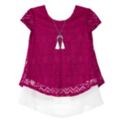 by&by Short-Sleeve Layered High-Low Top with Necklace - Girls 7-16