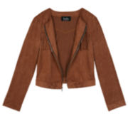 by&by Faux-Suede Fringe Jacket - Girls 7-16