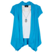 by&by Short-Sleeve Layered Cozy with Necklace - Girls 7-16