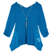 by&by 3/4-Sleeve Lace-Inset Solid Handkerchief-Hem Top with Necklace - Girls 7-16