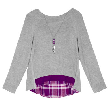 jcpenney.com | by&by Long-Sleeve Layered Crossover-Back Sweatshirt with Necklace - Girls 7-16