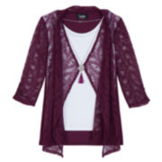 by&by Layered Tank Top and Lace Jacket with Pendant Necklace - Girls 7-16