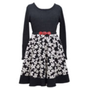 Bonnie Jean® Long-Sleeve Belted Floral Skater Dress - Girls 7-16